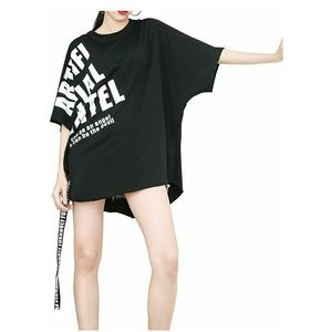 Tops - NWT Black Oversized White Graphic Batwing T-shirt